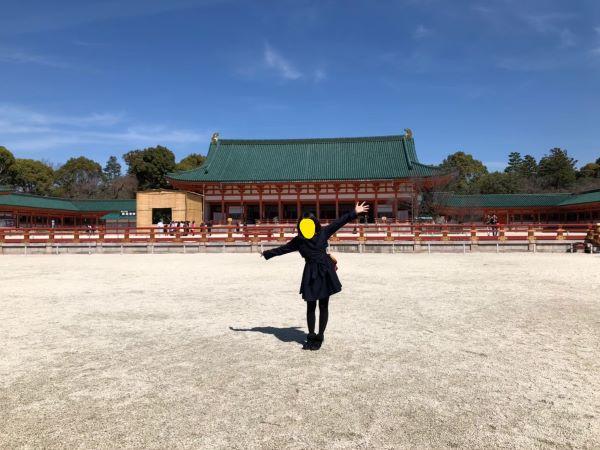 京都旅行にて平安神宮で記念写真