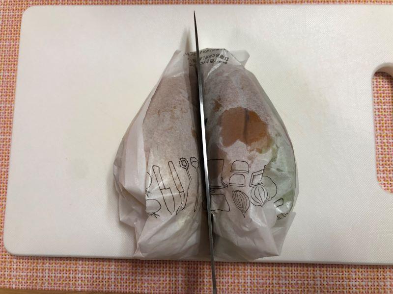 ハンバーガーを綺麗に半分に切る方法