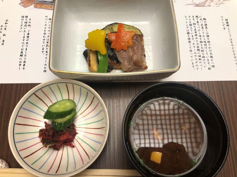 ホテル天坊の個室で食べる湯の花亭の料理「焼物」
